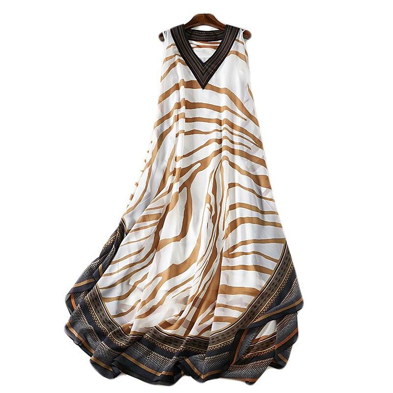 5XL Boho robe imprimé zèbre de haute qualité en mousseline de soie v-cou Sexy été décontracté fête nuit lâche grande taille 2 pièce longue robe