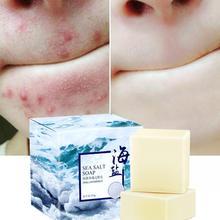 1/2pcs Sea Salt Soap Removal Pimple Pores Acne Treatment Goat Milk Cleaner Moisturizing Face Care Wash Basis Savon