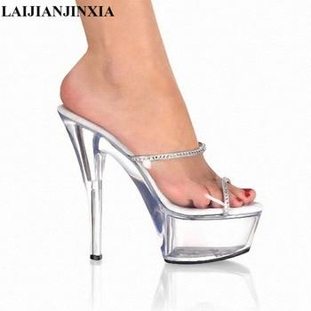 LAIJIANJINXIA 15CM High Heels Transparent Platform Sexy Slippers Party Queen Dancing Shoes Peep Toe Women Pole Dance Shoes