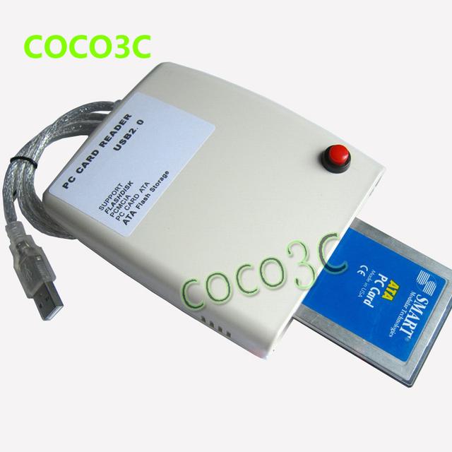 Frete grátis leitor de cartão adaptador de cartão de memória PC 68PIN ATA PCMCIA CardBus USB 2.0 com interruptor e caixa