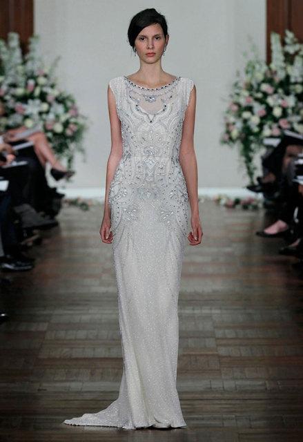 Bling Bling Beaded Dress Scoop Sheath Wedding Dresses Vestido Noiva Curto 2015 Jenny Packham Gowns