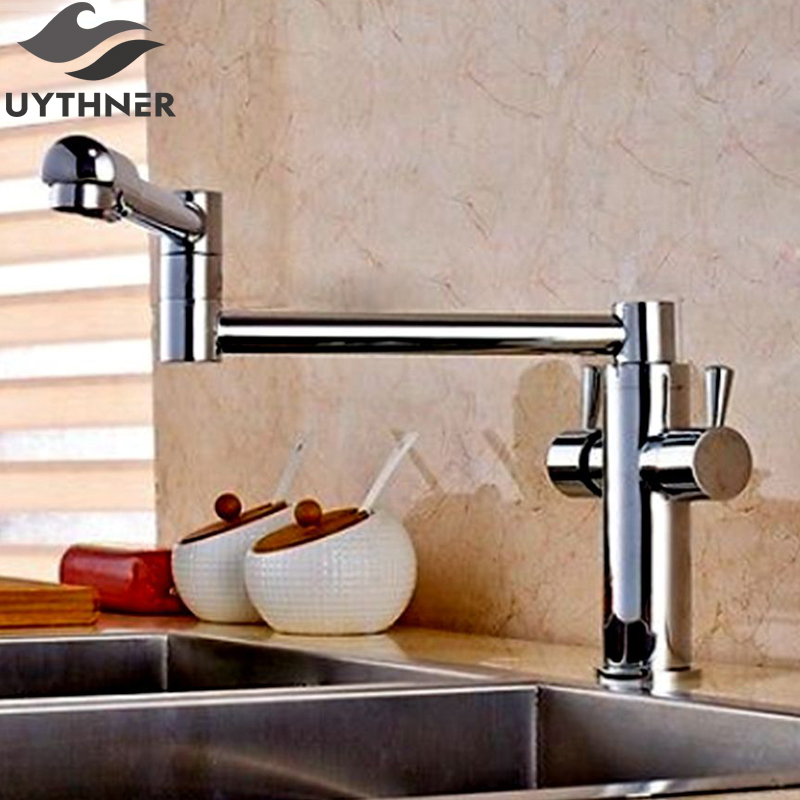 Uythner Long Spout 360 Degree Rotation Extending Kitchen faucets Chrome Brass Two Handle One Hole Mixer Tap Deck Mounted levett caesar prostate massager for 360 degree rotation g spot