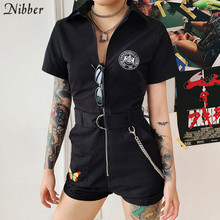 Nibber fashion embroidery black zipper playsuits womens 2019new summer ladies Punk high street casual wear stretch Slim playsuit