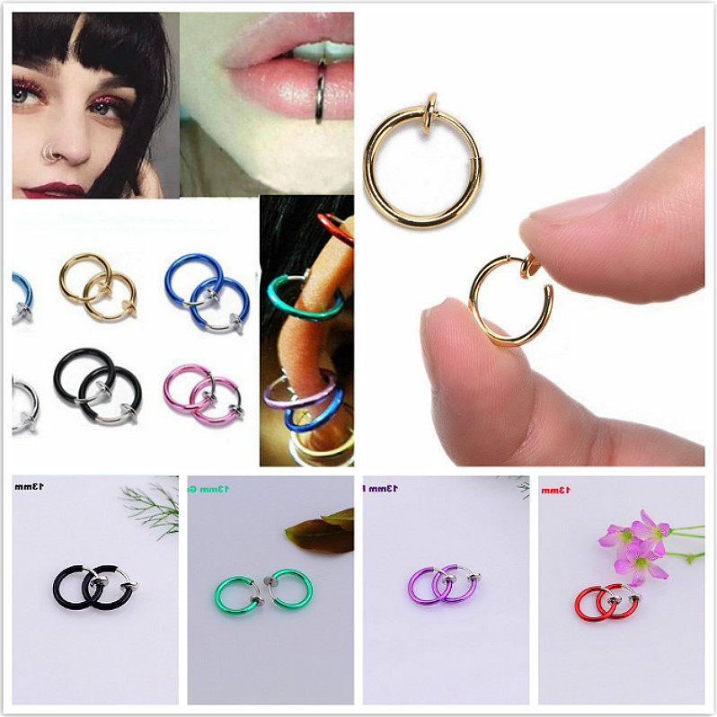Hoop Jewelry Nose-Ring Piercing Septum-Clip Medical Gold Silver Titanium Women Gift Fashion