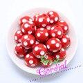 O Envio gratuito de 100 Pçs/lote Vermelho 20 MM Resina Bolinhas Beads, resina Rodada Chunky Beads para Colar Chunky Jóias