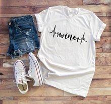 Funny Wine Heart Beat T-Shirt Tumblr Heart Beat Harajuku Tee Wine Grunge  outfit