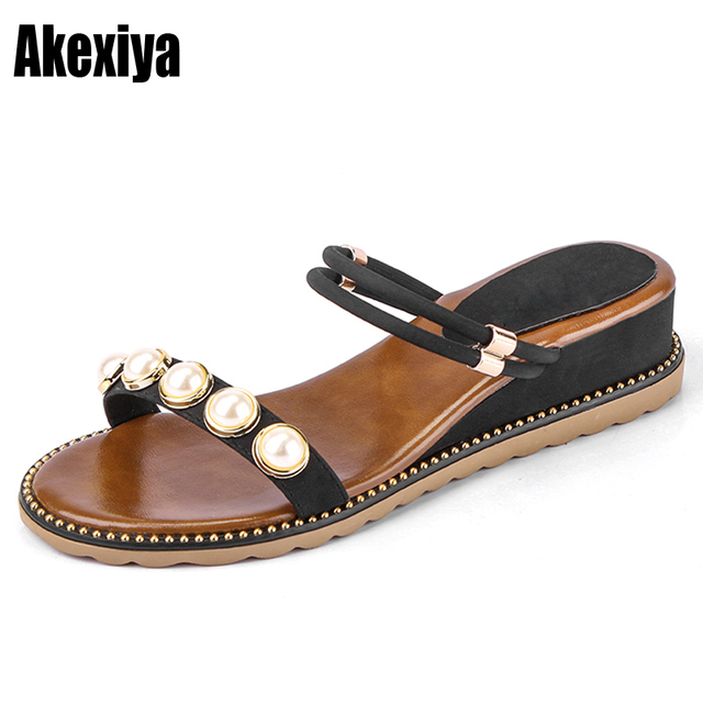 494506e5f Big size Fashion Summer Suede leather Gladiator Women Sandals Flat Heel  String Bead Shoes Wedges Black