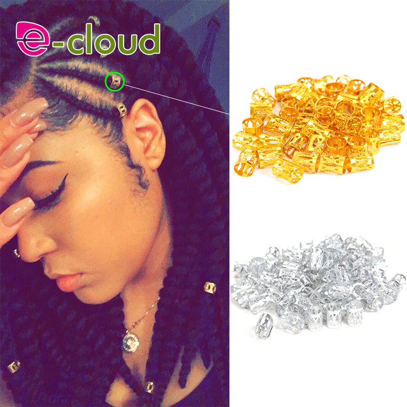 100pcs Gold Metal Tube Ring Dreadlock Beads For Braids Hair Beads For Dreadlocks Adjustable Hair Braid Cuff Clips(China)