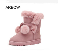 AREQW Winter Classic Women Boots Suede Fur Comfortable Warm Hot Girls Snow Boots Warm Shoes Female