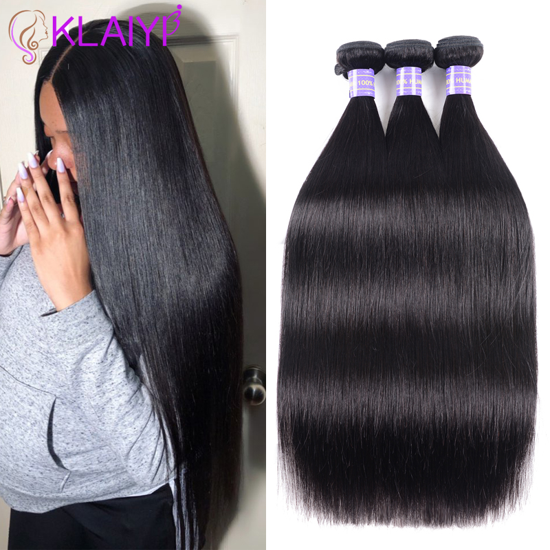 Klaiyi Hair Products Brazilian Hair Weave Bundles Straight Hair Bundles 8-26 Inch Dark Black Color 100% Human Remy Hair Weft(China)