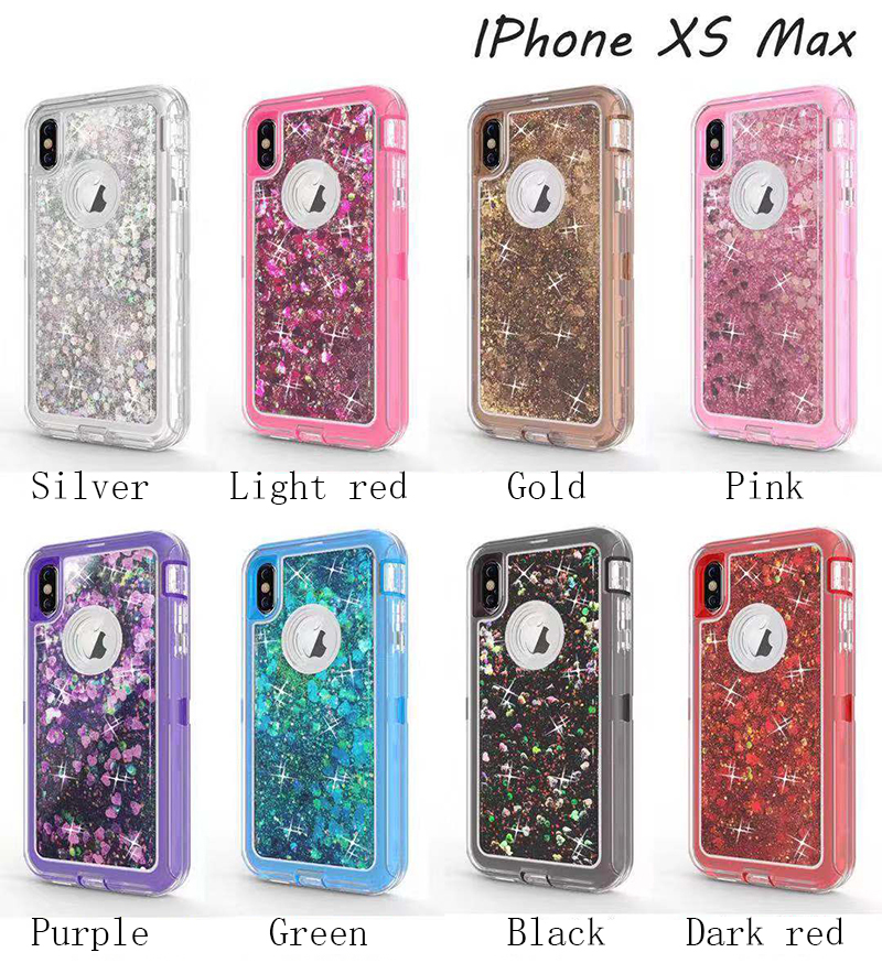 100PCS Fashion Luxury Liquid Flow Sands Anti knock Case Cover for iPhone X XS XR MAX