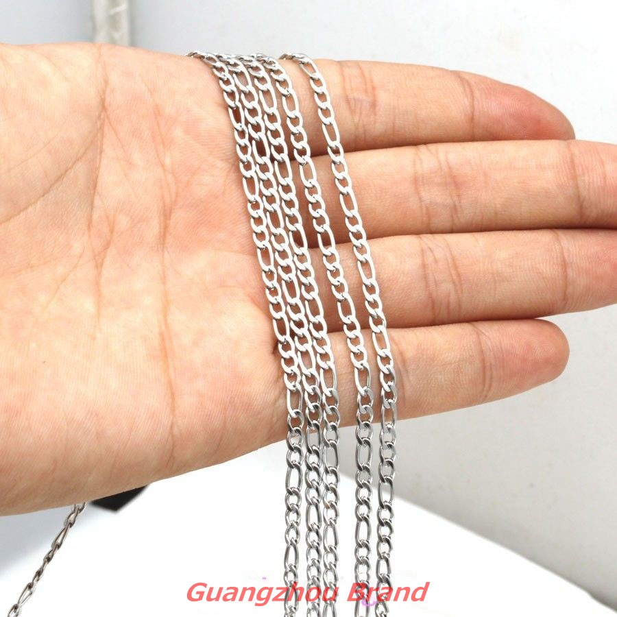 1/5/10meter 3mm Silver Figaro Chain Stainless Steel Bulk NK Chain DIY Jewelry Finding Necklace Womens Mens jewelry Xmas gift