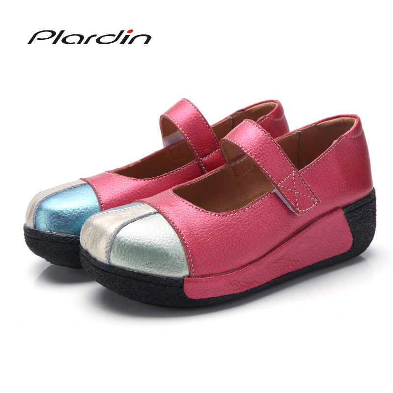 Plardin New Women Flats Platform Shoes   Suede     Leather   Women Splicing Mary Jane Creepers Slipony Female Ethnic Shoes Ladies