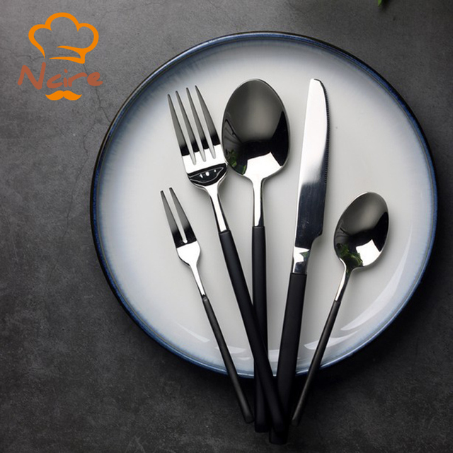 NCIRE Heavy-Duty 3 Pieces Flatware Set High-end Western Tableware Black Handle Cutlery & NCIRE Heavy Duty 3 Pieces Flatware Set High end Western Tableware ...