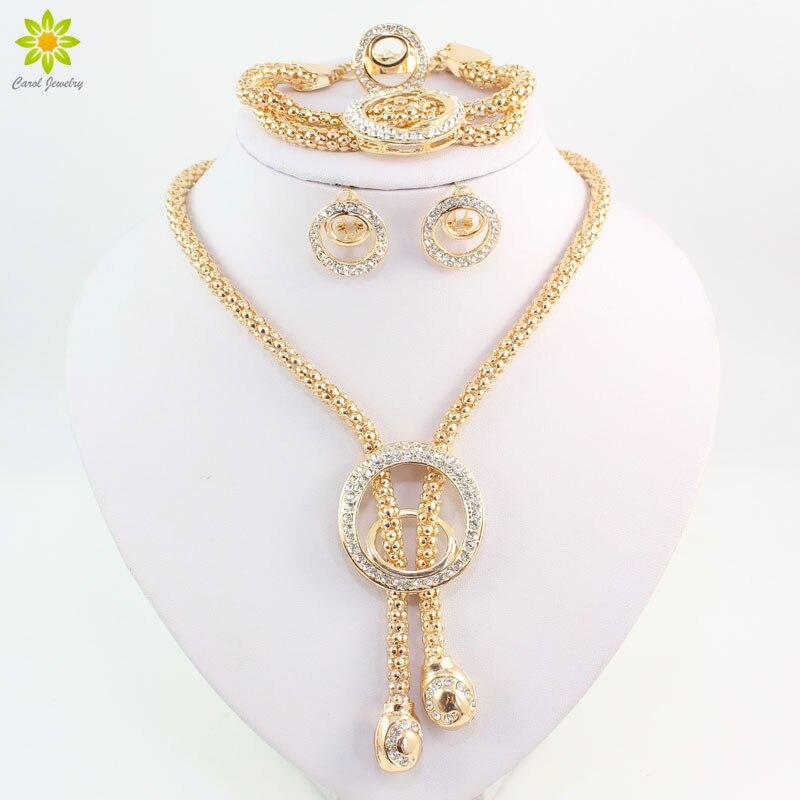 2017 Frauen Fashion Classic Gold Farbe Halskette Armband Ohrringe & Ring Schmuck Sets Afrikanischen Kostüm Hochzeit Zubehör