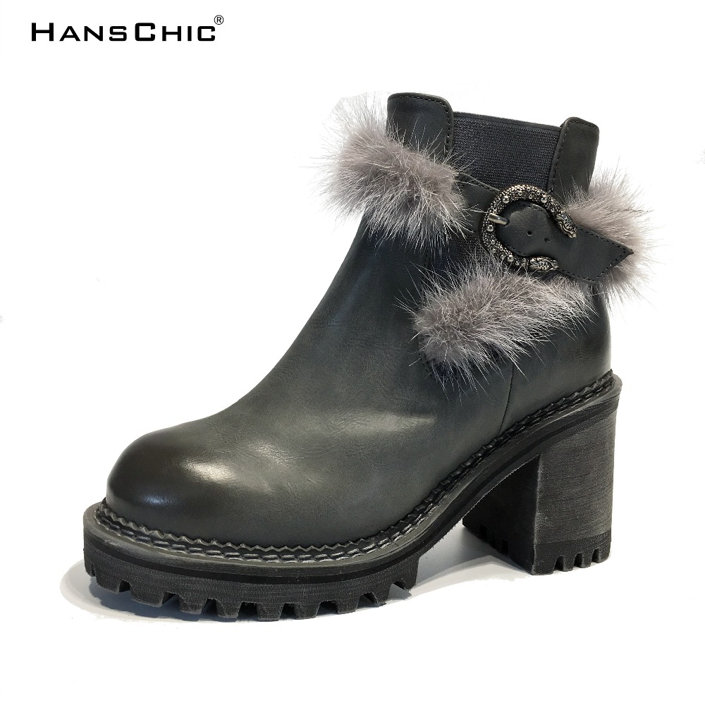 HANSCHIC 2017 New Arrival Grey PU Leather Ladies Womens Low Heels Casual Boots Shoes for Female with Real Rabbit Fur Design 2275 trousselier музыкальная шкатулка little grey rabbit© rabbit trousselier grey pink