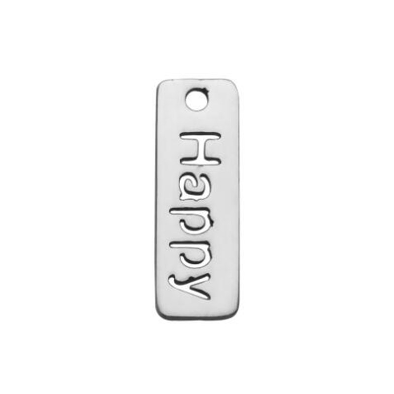 2018 New Letter HAPPY Necklace Pendant Stainless Steel Simple Word Charms For Chokers Necklace Jewelry