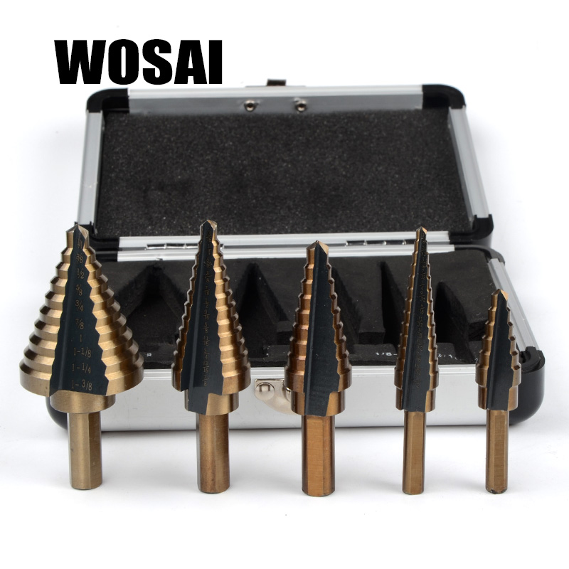 цена на WOSAI 5pcs/Set HSS COBALT MULTIPLE HOLE 50 Sizes STEP DRILL BIT SET w/ Aluminum Case