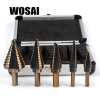WOSAI 5pcs Set HSS COBALT MULTIPLE HOLE 50 Sizes STEP DRILL BIT SET W Aluminum Case