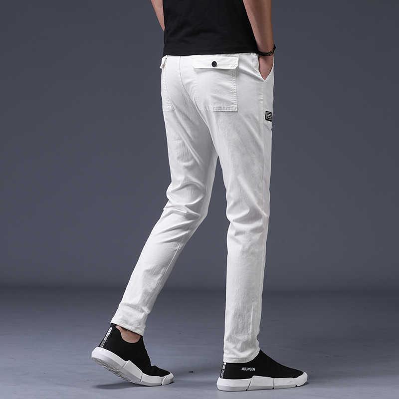 2019 Новые повседневные мужские брюки хлопковые тонкие прямые штаны с потертостями Модные мужские в деловом стиле дизайнерские белые черные брюки мужские большие размеры 38