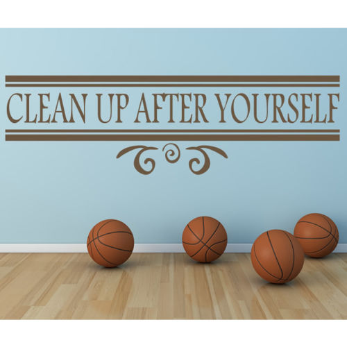 Clean Up After Yourself Food Quotes Slogans Wall Sticker Kitchen