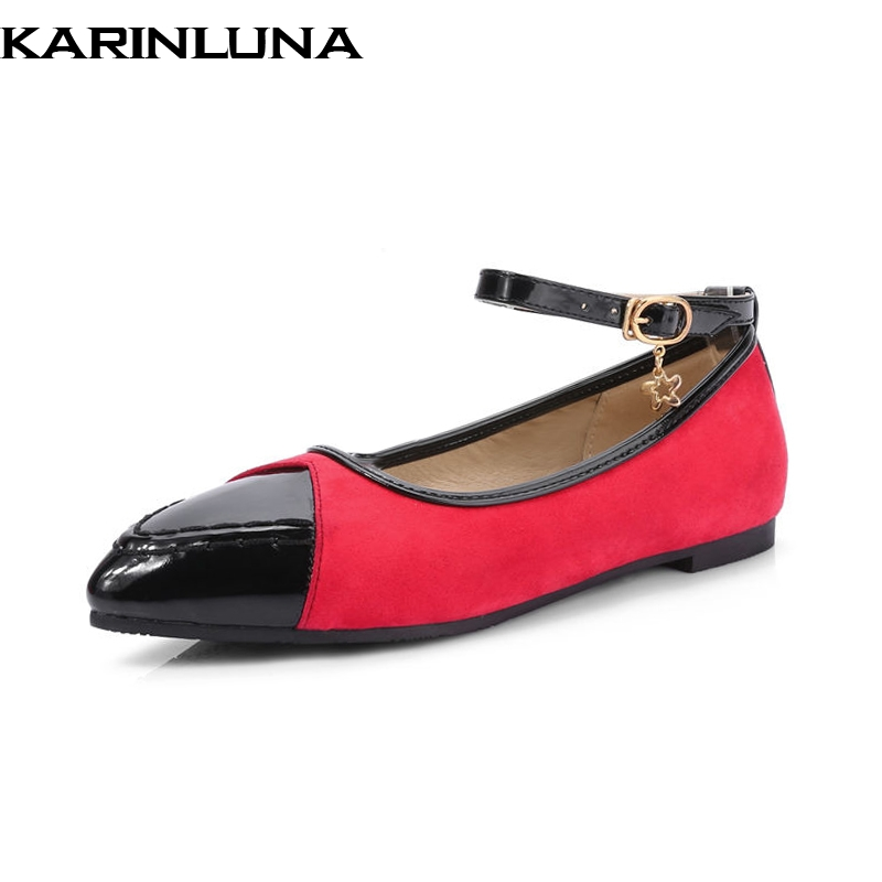 KARINLUNA 2018 Spring Autumn Fashion Patent Flats Women Big Size 34-43 Shallow Shoes Woman Sweet Women Casual Shoes plue size 34 49 spring summer high quality flats women shoes patent leather girls pointed toe fashion casual shoes woman flats