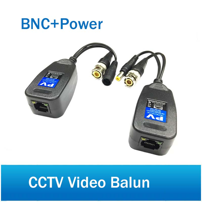 DC Passive Coaxial Cat5 BNC Connector Twisted Accessories Transceiver BNC CCTV Video Balun For Max 2MP AHD TVI CVI CVBS Camera