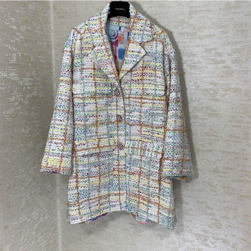 Haut de gamme mode piste tissus tissés personnalisés grand manteau femmes mode à manches longues manteau lâche décontracté femmes tissé Plaid veste