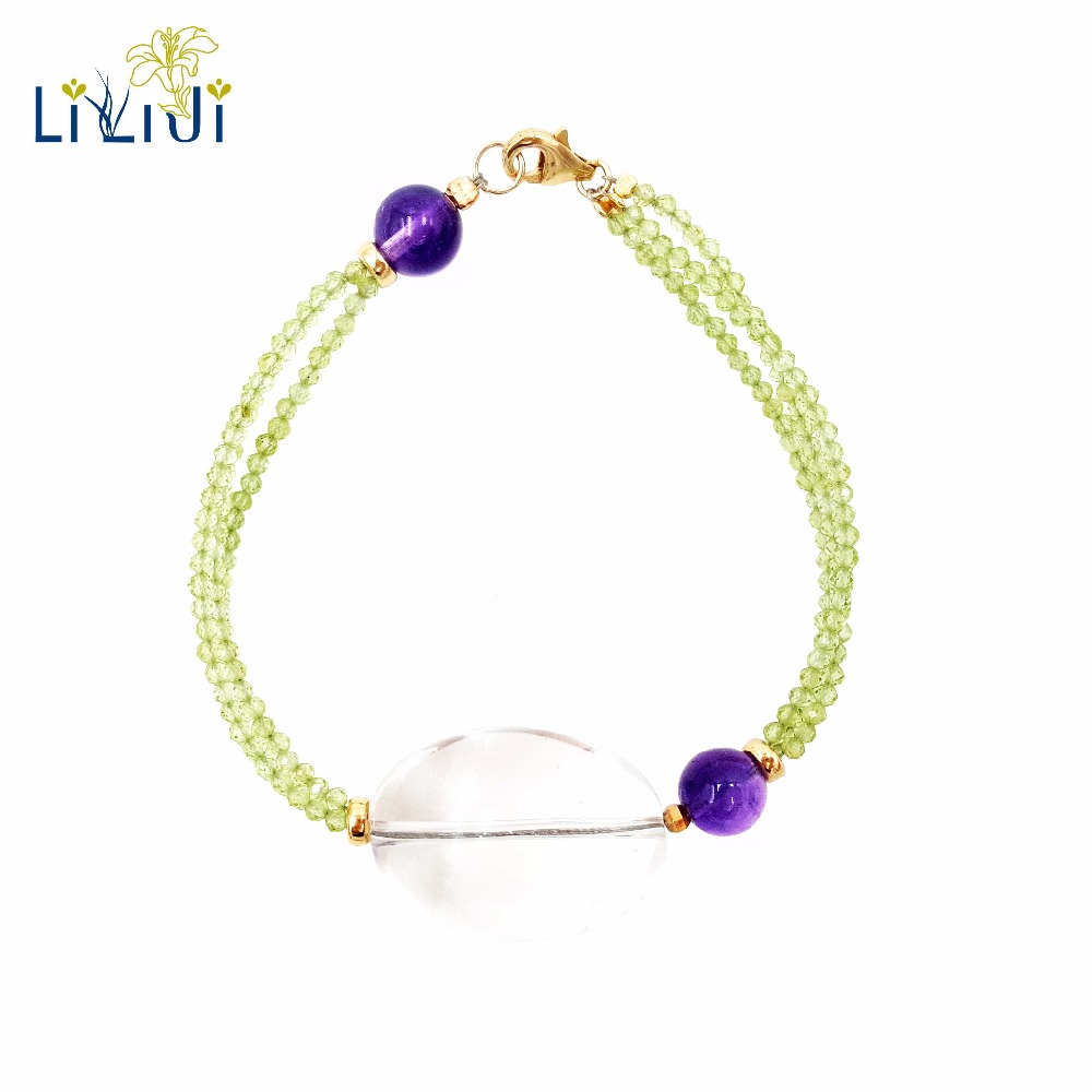 Lii Ji Natural Gemstone Shining Peridot Transparent Crystal Amethyst 925 Sterling Silver 18K Gold Plated Unique