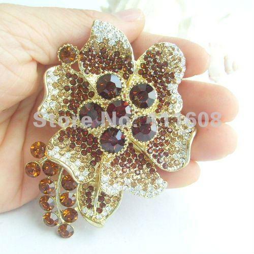 Красивая Орхидея цветок брошь булавка w коричневые хрустальные стразы EE04986C3