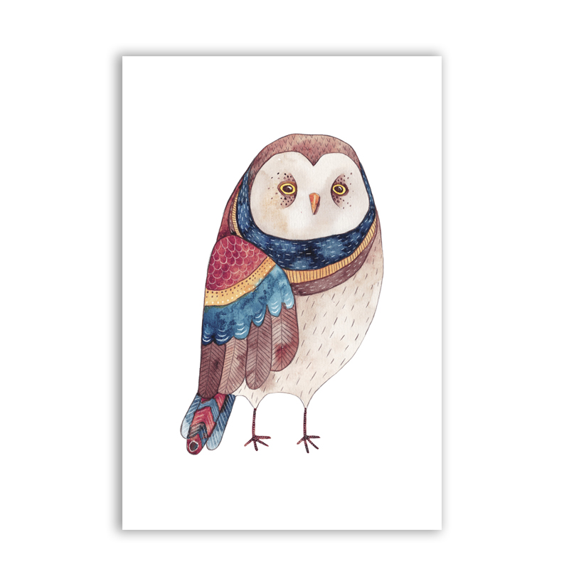 Nordic Cute Owl Art Print And Poster Nursery Wall Decor Watercolor Prints Canvas Painting Kids Room Decoration In Calligraphy From