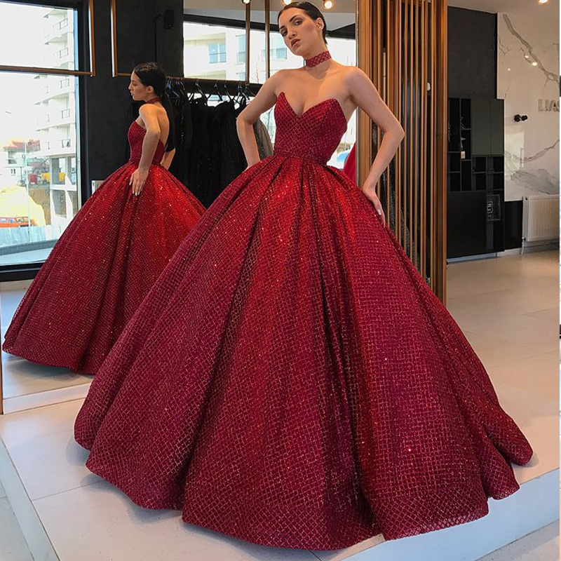 2019 hors de l'épaule longue robe de soirée de Style arabe bouffante robe de bal paillettes bordeaux femmes formelle robe abendkleider