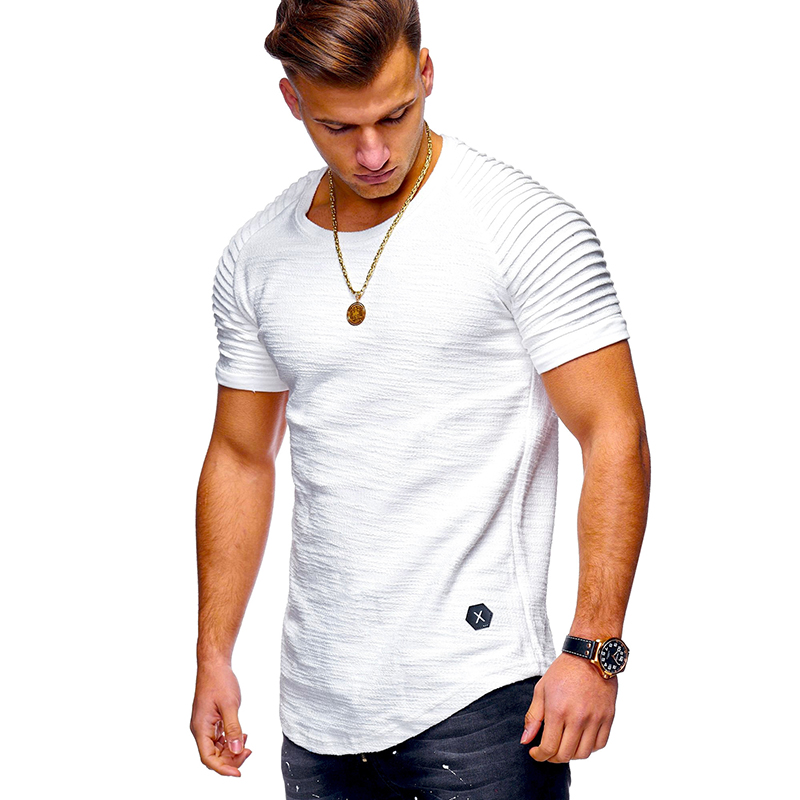 T  -  Shirt   Men High Street Solid Color Men's   T  -  shirt     T     Shirt   Men Short Sleeves Stripe Fold Slim Fit Hipster Casual tee   shirt   man
