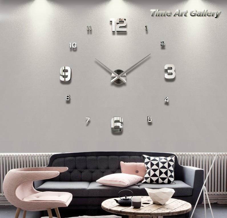 Wanduhren Modern Design Wanduhr Edge Clock Big Moderne: Hauptdekoration! Große Digitale Spiegel Wanduhr Modernes