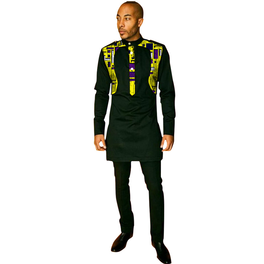 African Stand Collar Shirt Men's Trouser Set Black Mix Prints Ankara Outfits Customized Wedding Wear Epaulet Decorated Tops