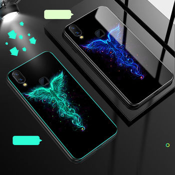 Luminous Phone Case For vivo Y95 Case Glow Tempered Glass Back Cover For vivo Y95 Y93 U1 Case Cover Silicone Bag Shell