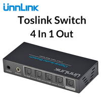 Unnlink HIFI 5.1 SPDIF Selector Toslink Switch 4X1 Optical DTS AC 3 Audio Switcher 4 in 1 Out for soundbar amplifiers subwoofer