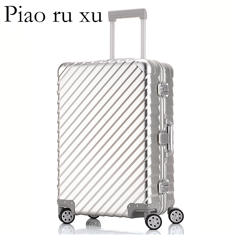 100 Alumnium Rolling Luggage Lightweight Hardside Travel Trolley Suitcase with Aircraft Spinner Wheels Alumninum Rod