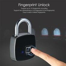 USB Rechargeable Smart Keyless Bluetooth Fingerprint Lock IP65 Waterproof Anti-Theft Security Padlock Door Luggage Case Lock