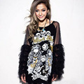 Long sleeve T-shirts for women fashion spring print top female loose plus size patchwork lace t-shirt sexy black