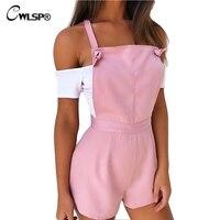 Cwlsp hot koop fashion vrouwen speelpakje casual bib broek korte overalls womens broek jarretel rompertjes womens jumpsuit ql2910