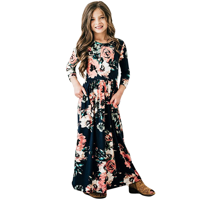f78a649b17f27 US $8.44 35% OFF|Bohemian Autumn Spring A Line Girls Maxi Dresses 2019 Long  Sleeves Printed Dresses Birthday Party Kids Beachwear Clothes-in Dresses ...