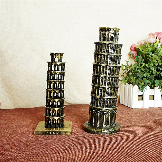 Cute Italy Leaning Tower Of Pisa Statue Two Size Craft Model Table Ornament Fine Plating Presents