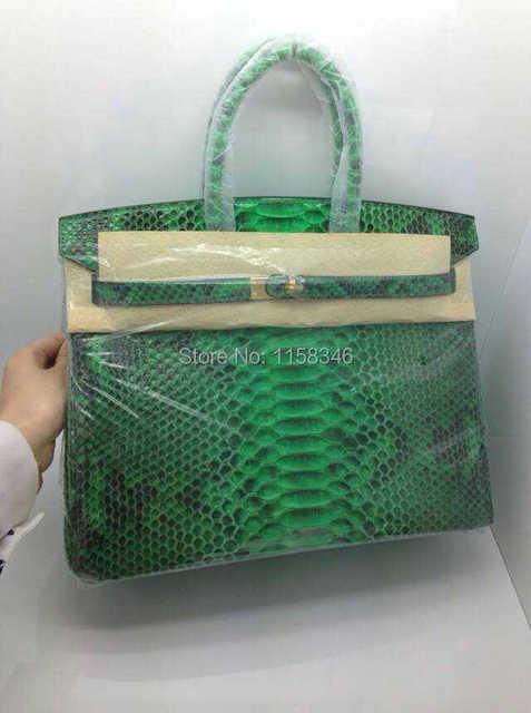 35cm 100 Indonesia Bright Python Leather Handbags Designer Hot Las Pink Bag Snake