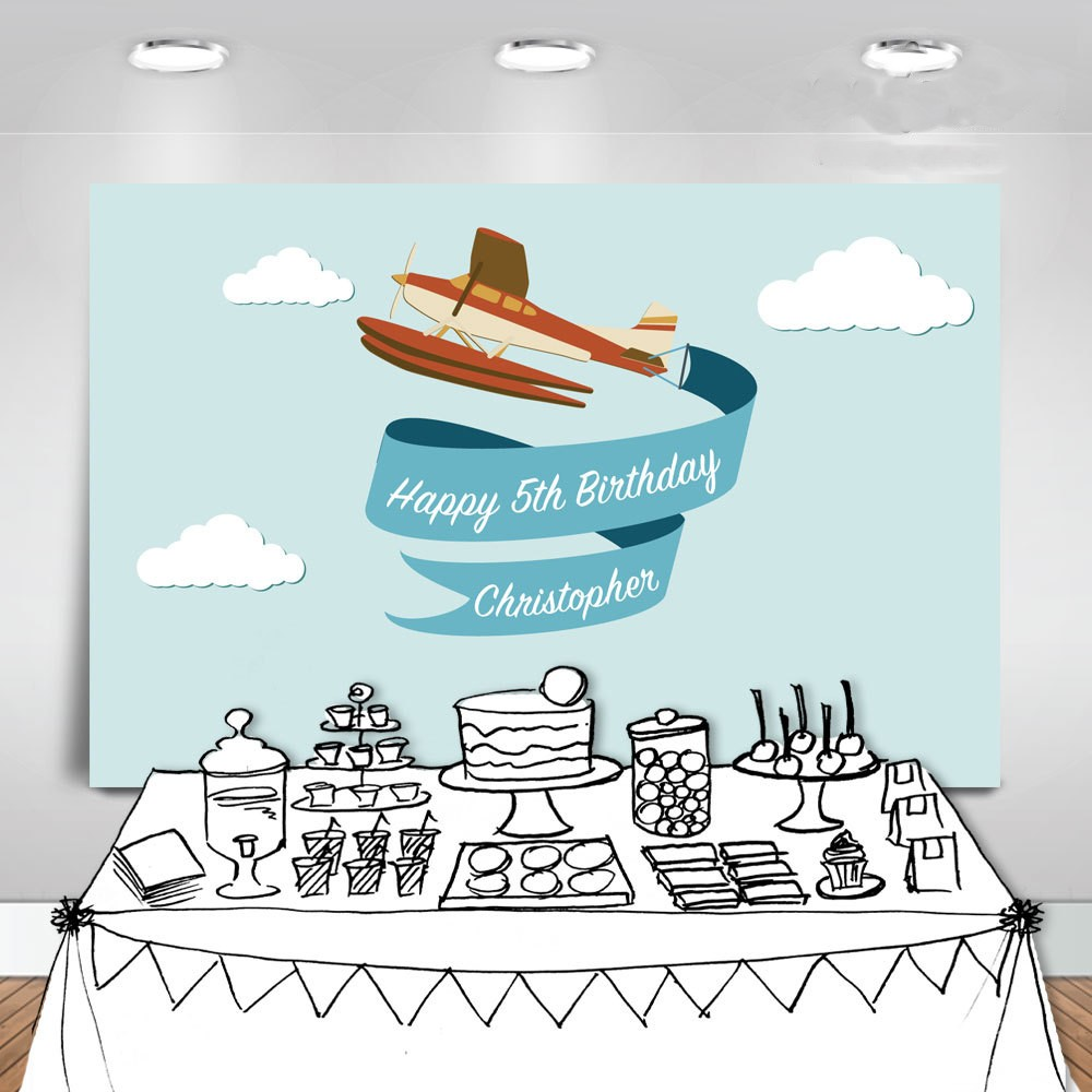 custom airplane banner white clouds blue happy birthday photo backdrop High quality Computer print party background