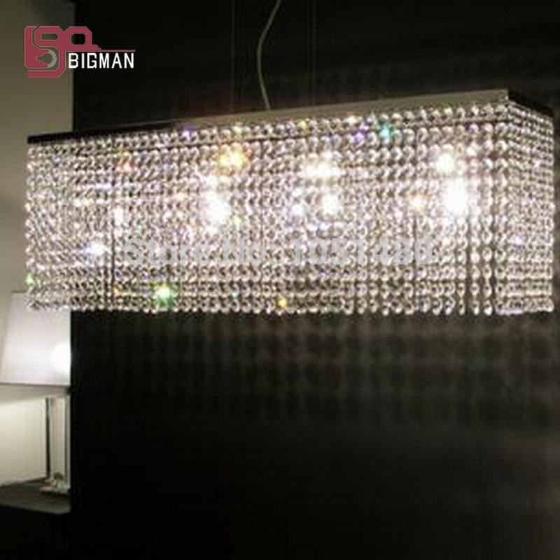 Top sales rectangle dinning room crystal pendant lights modern lamp