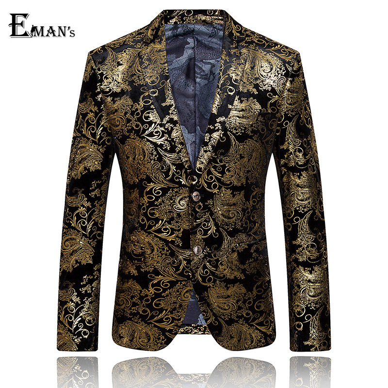 bleiser masculino blaser Gold Blazer Floral Casual Slim Blazers Party Single Breasted Men Suit Jacket Plus Size M-3XL