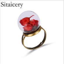 Sitaicery Adjustable Womens Ring DIY Handmade Fresh Dried Flower Woman Custom Jewelry Best Birthday Gifts For Women