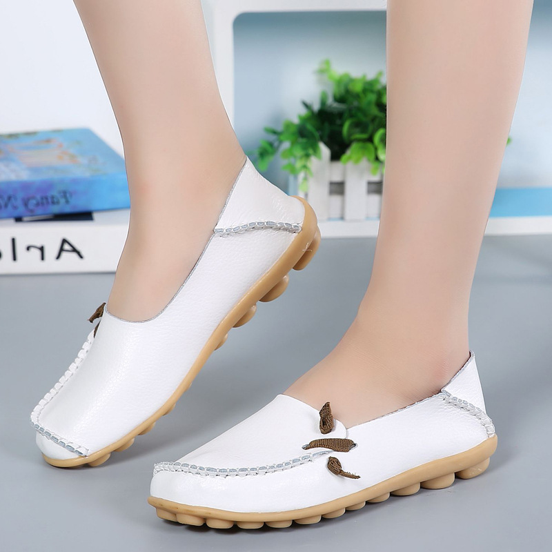 Women Flat Genuine   Leather   Women Shoes Fashion Lace up Casual Ladies Shoes Peas creepers Non-Slip Outdoor Shoes Ballet Flats