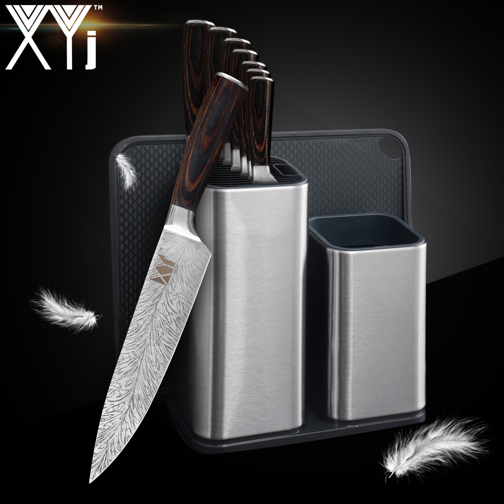 XYj Stainless Steel Knives Kitchen Knives Set Feather Pattern Sharpener Rod Scissors Knife Holder Stand Block